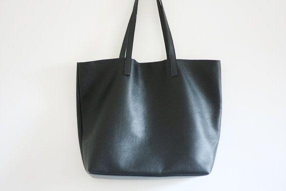 LILA - Leather Tote Bag - BLACK | Black leather tote bag ...
