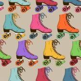 patinaje sobre ruedas : Patrón sin fisuras con colores retro patines de rodillos Vectores