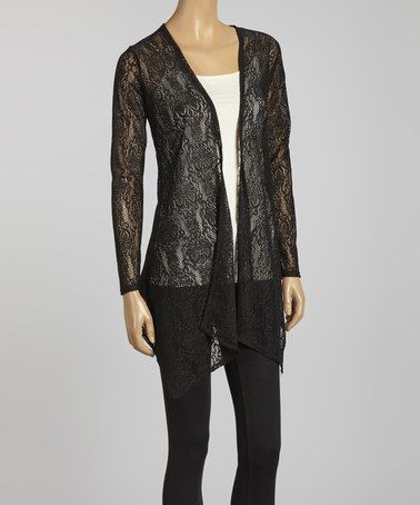 Look at this #zulilyfind! Black Lace Long Open Cardigan by Simply Irresistible #zulilyfinds
