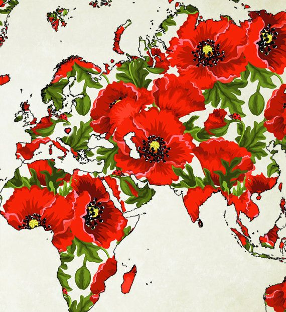 POPPY FLOWERS WOLRD MAP POSTER WORLD ART World Map Print Printable Instant Download Color Wall Art Digital RED