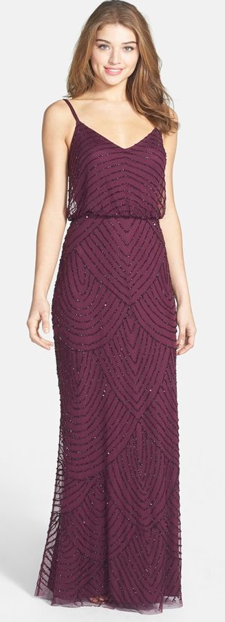 Beautiful, spaghetti strap sequin, floor length dress in cranberry. Elegant fall glam!