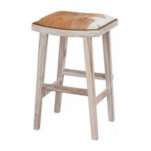 Venice Tan & White Cowhide Stool - Glamour