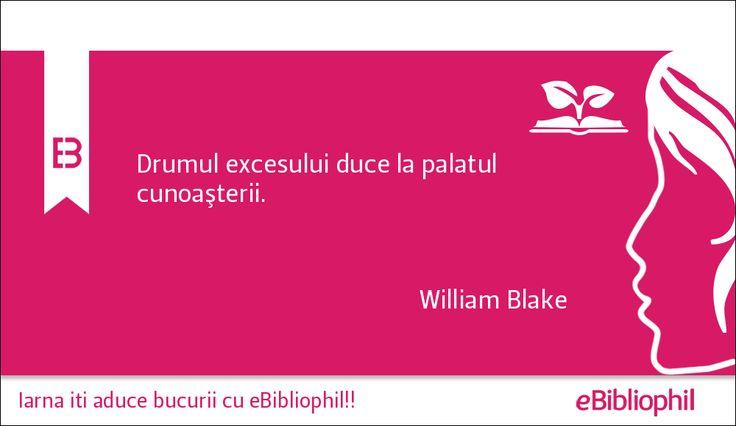 """""""Drumul excesului duce la palatul cunoaşterii."""" William Blake"""