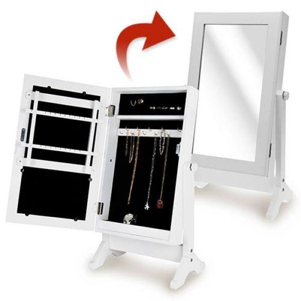 MIROIR COFFRET À BIJOUX DE TABLE  Ce formidable miroir-coffret à bijoux de table constitue sans aucun doute la meilleure façon d'organiser et de ranger vos bijoux (bagues, bracelets, boucles d'oreille, colliers, broches, etc.). Il s'agit d'un meuble de rangement à bijoux, surmonté d'un miroir sur porte, qui possède une double fonction. N'est-ce pas merveilleux ?! Son design, à la fois astucieux et élégant, ira à merveille sur votre commode ou votre coiffeuse.