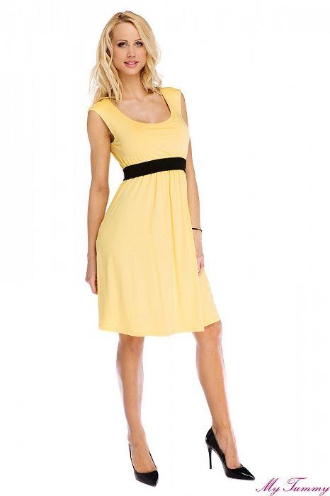 """Těhotenské a kojicí šaty """"Amy"""" žluté - My Tummy - Luxusní, elegantní a praktické oblečení pro těhotné a kojící ženy"""