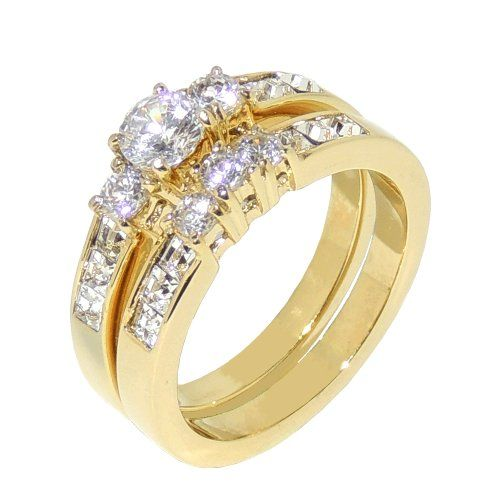 1.35ct CZ Gold IP Stainless Steel WOMENS WEDDING/ENGAGEMENT RING SET