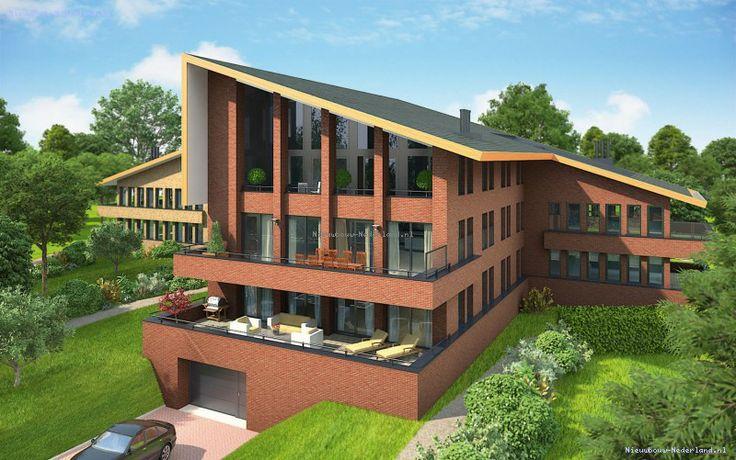Dit appartementencomplex geeft veel mogelijkheden weer. Niet het standaard platte dak. Ook is de parkeergarage mooi verdiept.