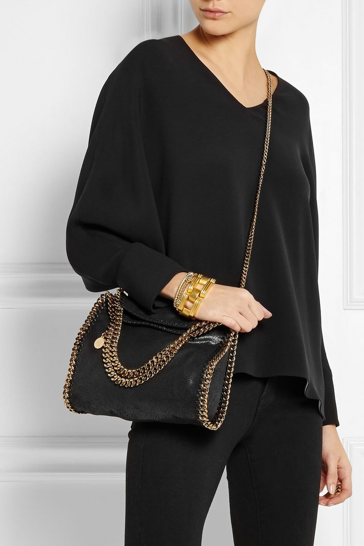 Stella McCartney | The Falabella mini faux brushed-leather shoulder bag | NET-A-PORTER.COM