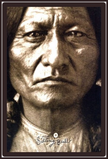 """An incredible photo of Sitting Bull. His name on this photograph is signed by Sitting Bull himself. This photo was also used as a cover for a book titled """"Sitting Bull"""" by Bill Yenne."""
