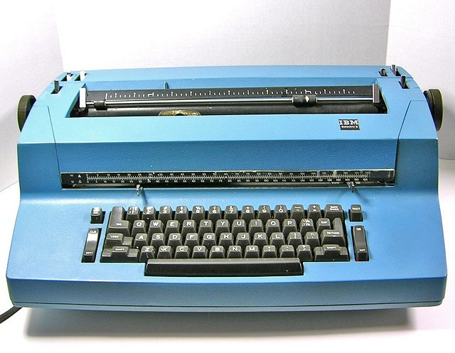 Vintage Blue 1970's IBM Selectric II Electric Typewriter   > i remember doing office practice at school on one of these.