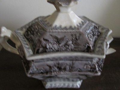 Antique J. Clementson Corea Ironstone Flow Mulberry Black Sugar Bowl As Is