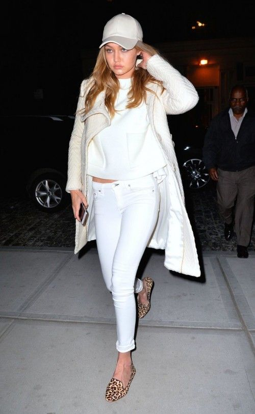 Looking for a similar white baseball cap and leopard print loafers as the one Gigi Hadid is wearing