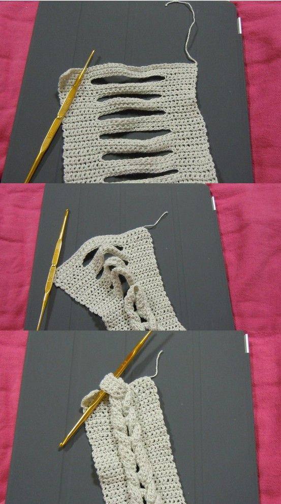 "how to create a braid in crochet! -this is so simple! I can imagine a sweater made out of these ""cabled-braids""... <3"