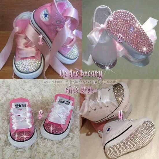 These are SOOO easy to make!! I made a pair of black high tops for my baby cousin's first birthday. Took black high tops, clear rhinestones (or crystals if you have the money to spend), pink ribbon and a few hours of my time to perfect it. They were so super cute on her! Can be used on any cheap kids shoes as well.