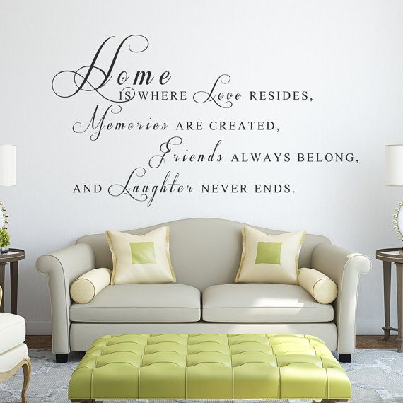 Home Is Where Love Resides Vinyl Decal Quotes Wall by WallPlaza