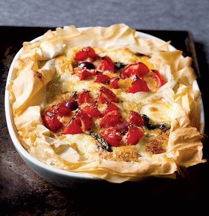 Tomato, mozzarella and olive tart