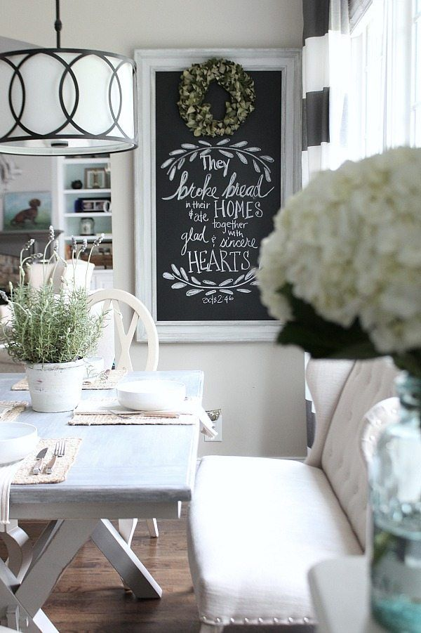 Farmhouse dining space with painted x base table from for Better homes and gardens dining room ideas