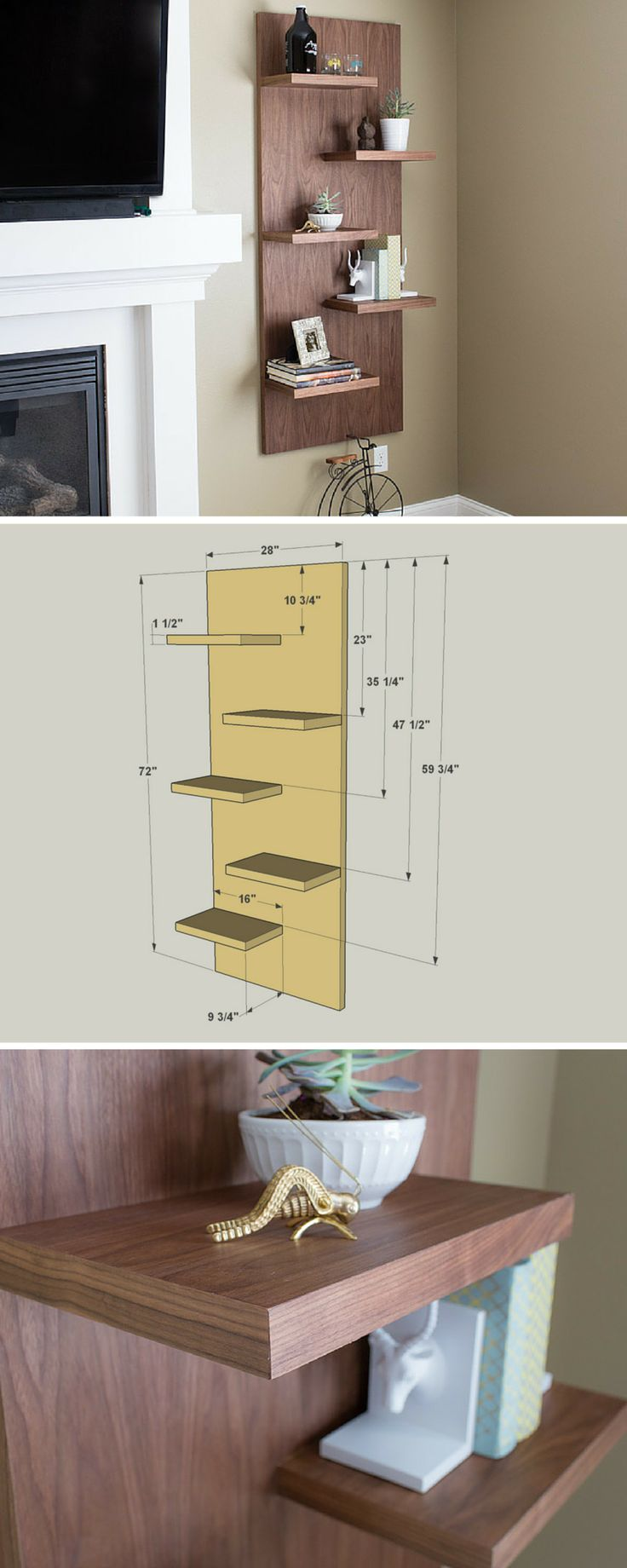 Add a dramatic style statement in any room with these floating shelves. Though they look like they're made of solid wood (walnut in our case), this project is actually all plywood that has iron-on edging to cover the exposed plywood edges. You'll be amazed how easy this shelf unit is to build. FREE PLANS at buildsomething.com
