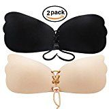 Adhesive Bra, Push-up Silicone Bras with Drawstring, Strapless Reusable Invisible Bra (D, Beige+Black)   Push Up Bra: Come with skin-friendly adhesive in cups to always stay in place, providing a securely fit, also can be reused multi times without loss of adhesiveness. Pull Rope Design:...