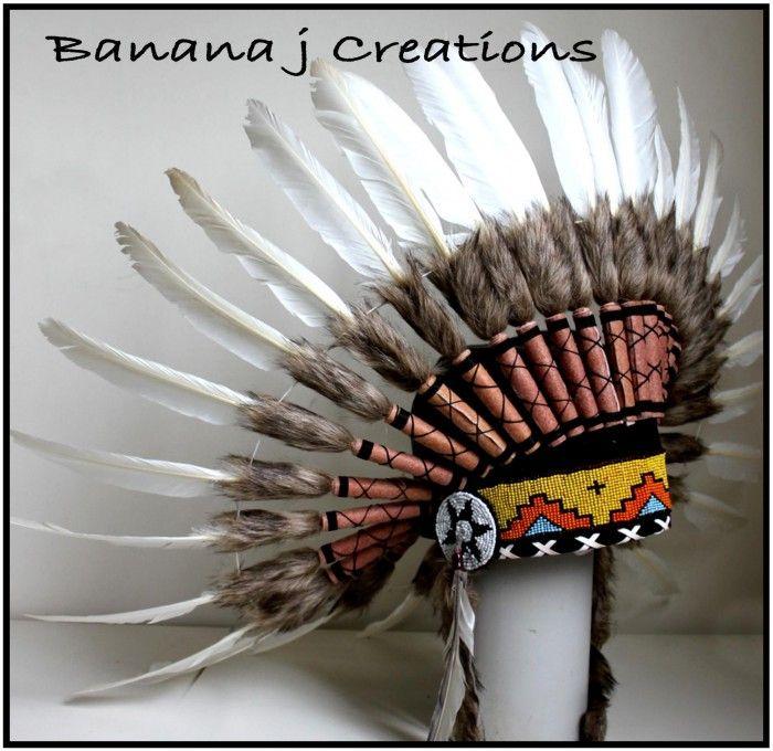 White Feather Headdress - Banana j Creations