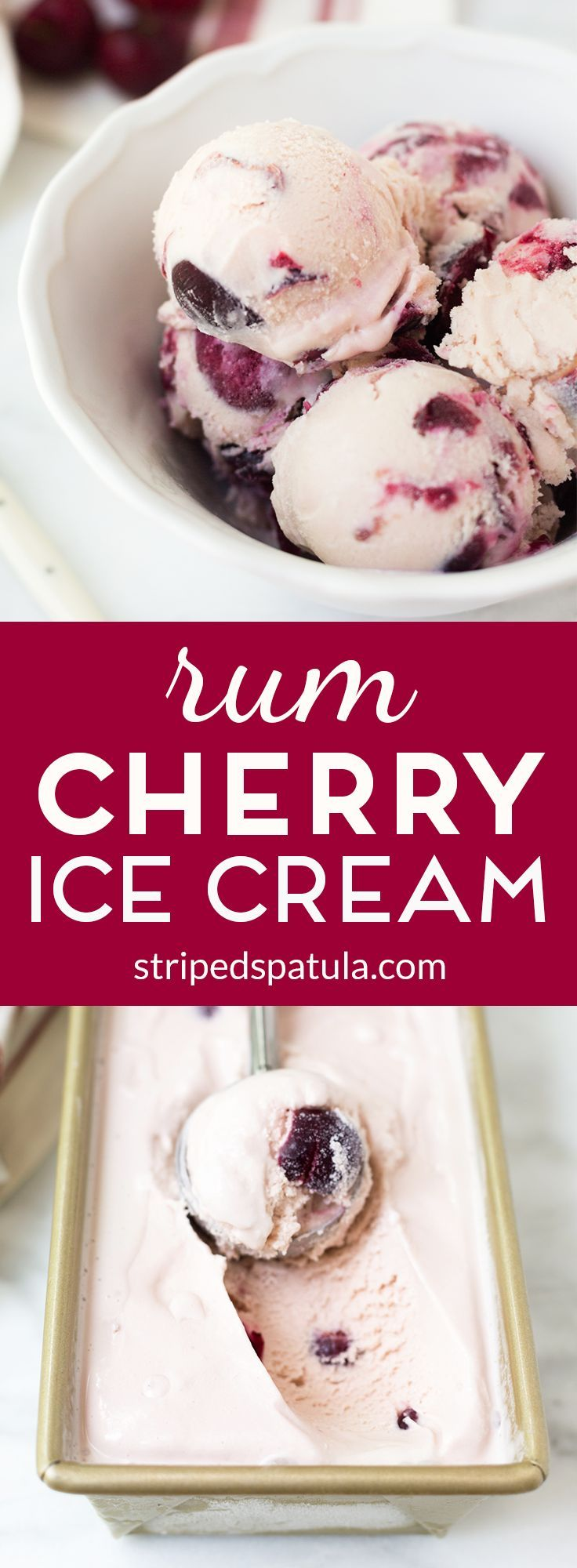 Rich and creamy with chunks of rum-soaked cherries swirled throughout a custard base, this Rum Cherry Ice Cream is a grown-up twist on a classic.