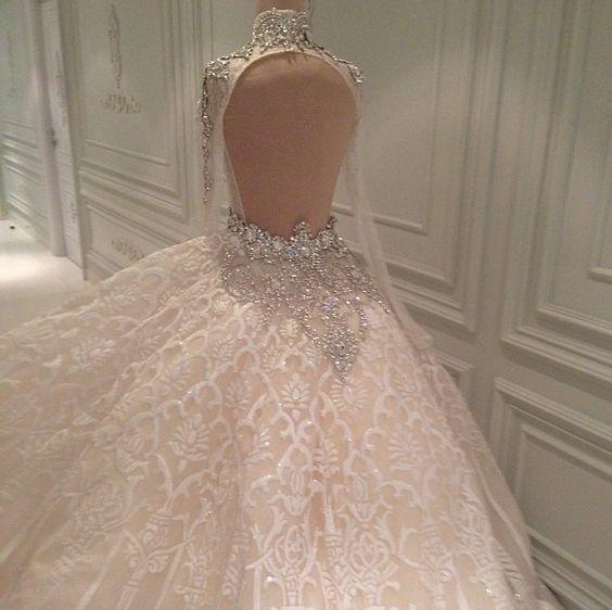 Luxo 2016 Sexy Bling Bling Cristais Branco Marfim Rendas vestido de Baile Vestido de Noiva vestidos de noiva vestido de Noiva