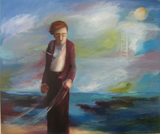 """I STAND AMIDST THE ROAR...."" (From ""Dream within a Dream""  by E A Poe)  oil on canvas   2008  100cm x120cm  sold"