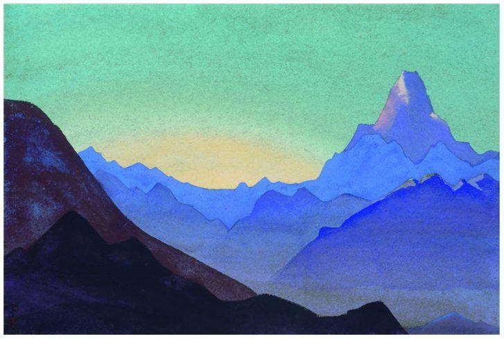Himalayas. Sunrise., 1937 by Nicholas Roerich. Symbolism. landscape