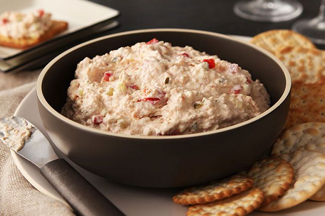 This creamy spread of cream cheese, mayo, deviled ham, pickle relish and pimentos can be served with crackers or as a sandwich filling.
