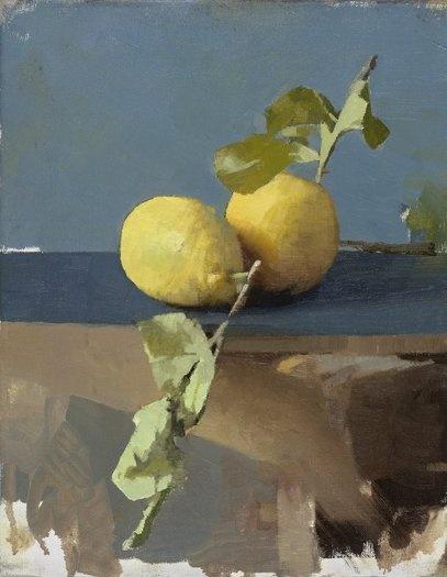 Diarmuid Kelley, born 1972 | Works - Untitled (Lemons), 2011 oil on linen | Offer Waterman & Co.