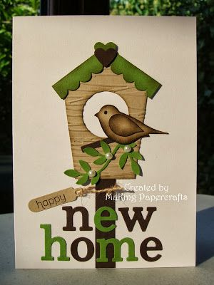 Stampin' Up! ... handmade new home announcement ... two step punched bird with sponging for depth ... cute contstricte bird house ... sentiment in die cut letters ...