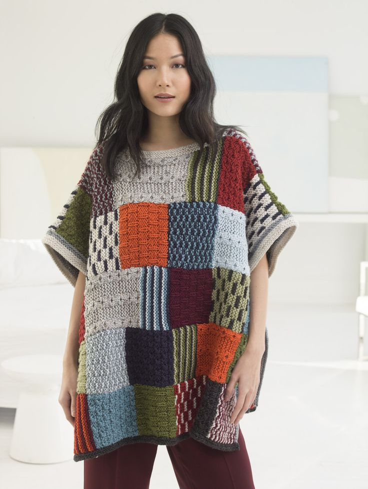 "Every square is an adventure with our knit Patchwork Poncho! Make it with 6 different mini-patterns,12 balls of Vanna's Choice & Circular Knitting Needles 36"" Size 9."