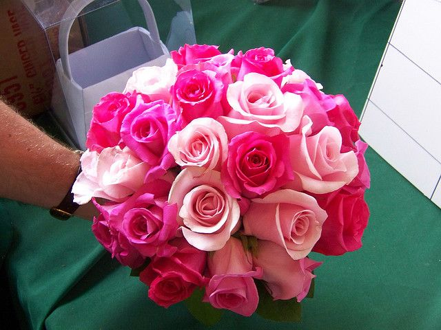 Hot Pink Wedding Bouquets | bridal bouquet this beautiful all rose bouquet mixes hot pink ravel ...