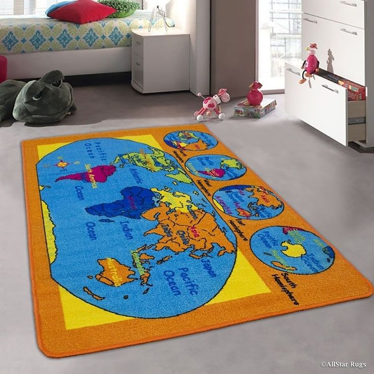 Kids World Map Usa Map Continents Rug