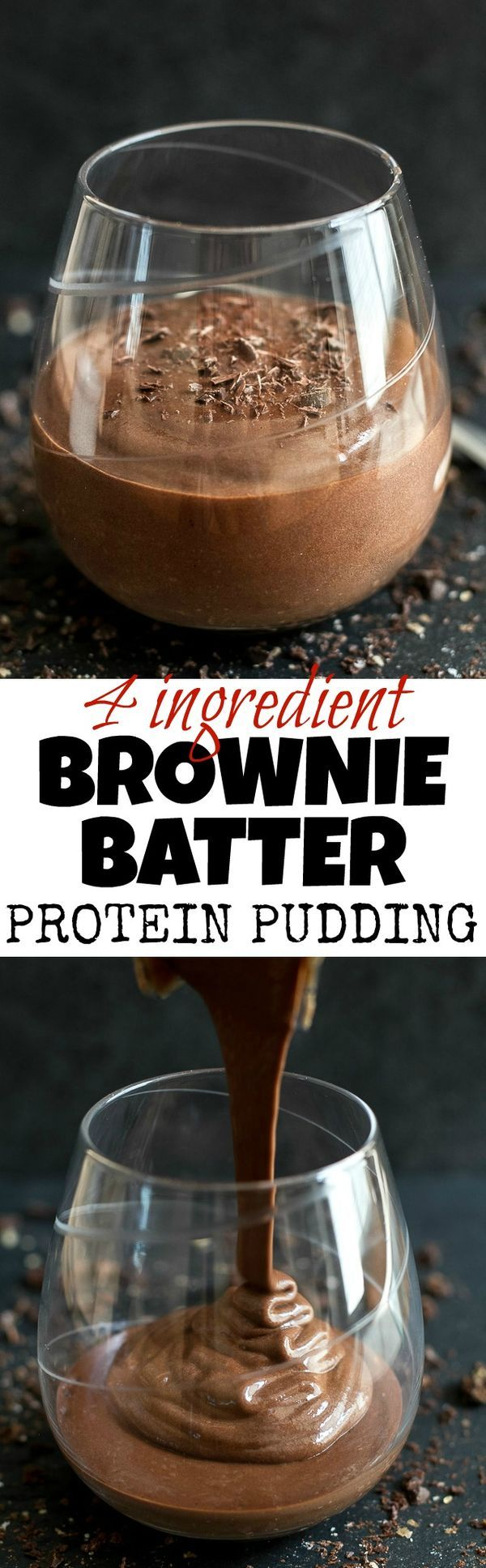 Brownie Batter Protein Pudding--high in protein and packed with a rich chocolate flavor, this addictively DELICIOUS recipe requires only 4 ingredients and 5 minutes to make! You might not believe it, but make your own and it will soon become one of your most favorite desserts!
