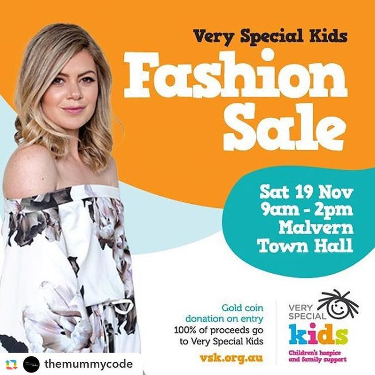 Repost @themummycode:  Look out  @veryspecialkids are holding a 1 day only Fashion Sale on Saturday 19 November from 9am-2pm at Malvern Town Hall  Ladies and mens quality clothing will be on sale at up to 90% off!  The best part.....All proceeds from the sale will go to Very Special Kids to help support children in need. What a great reason to pick up some amazing bargains #vskfashionsale #fashion #mummyblog #sale