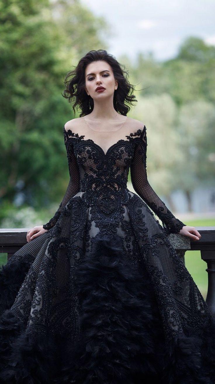 schwarzes spitzenkleid gothik