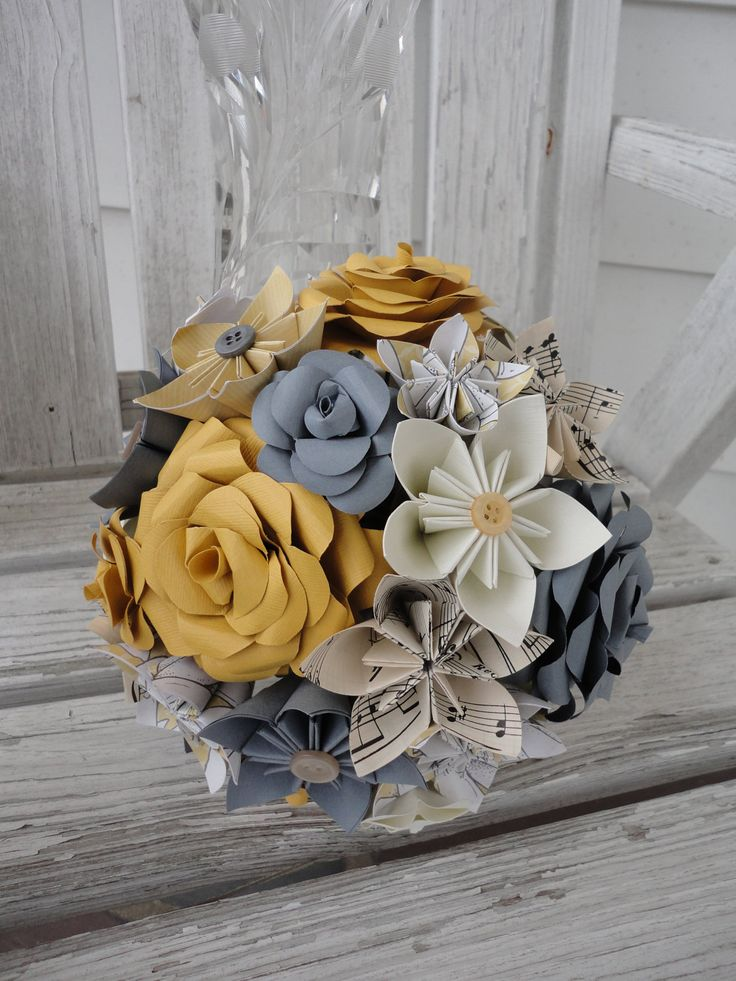 Paper Wedding Flowers Bridal Bouquet Rose Kusudama Gray Sheet Music Custom. $108.00, via Etsy.