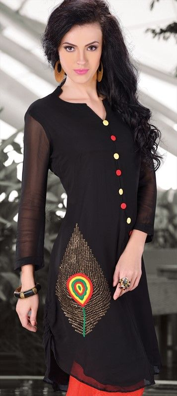 410364, Kurti, Georgette, Machine Embroidery, Sequence, Black and Grey Color Family
