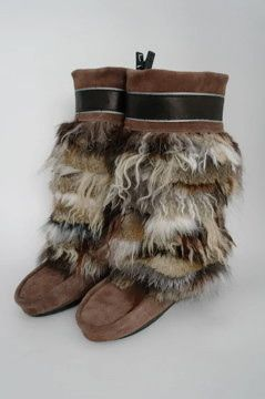 One-of-a-kind Size 7 Ladies Muckies.  Urban twist on traditional mukluks.  Made for urban wear.  visit  www.juliepedersen.com