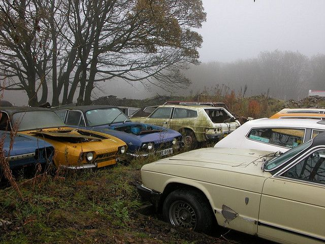 Abandoned Cars Reliant Scimitar Graveyard
