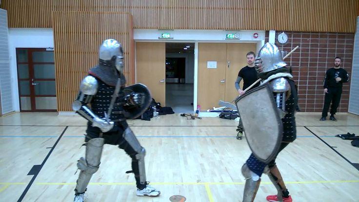 Medieval armored combat practice in Kuopio, Finland.