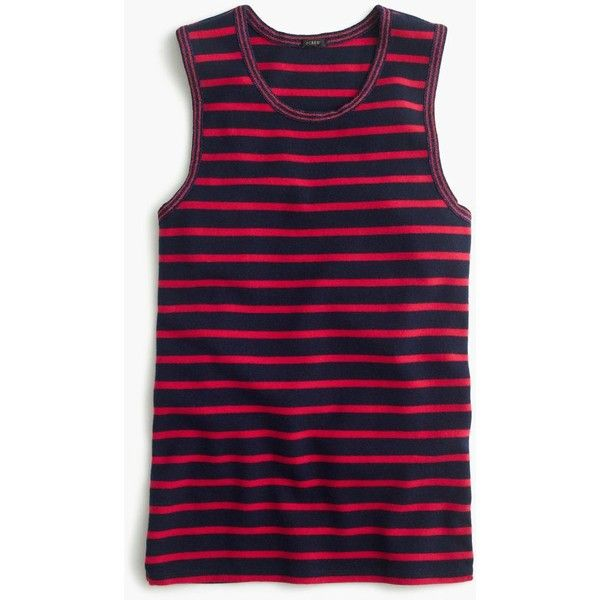 J.Crew Metallic-Trim Striped Shell ($18) ❤ liked on Polyvore featuring tops, striped tank top, stripe tank, evening tops, striped top and blue tank top