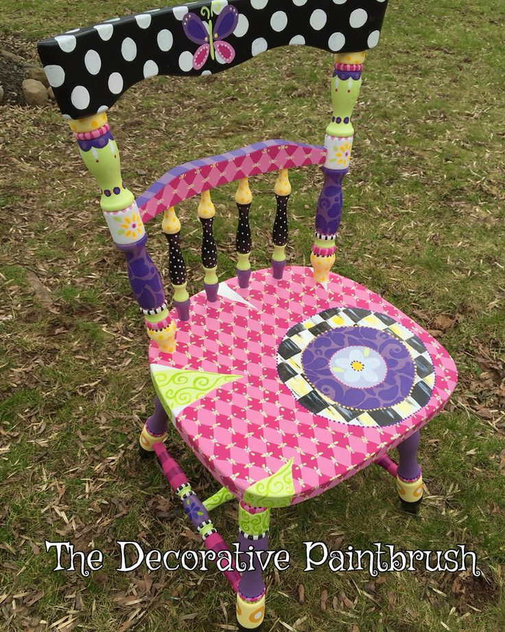 Latest Piece For A Customer Who Was Looking For A #cute #chair To Work ·  Whimsical Painted FurnitureColorful FurniturePainted ChairsHand ...