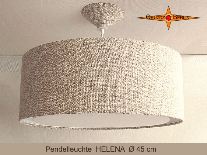 Hängelampe HELENA, hier in Ø 45 cm Optik, mit Lichtrand, Baldachin und OHNE Beleuchtung. Sie wirkt natürlich und dennoch sehr elegant in ihrem Landhausstil.