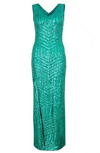 Womens sea green green sequin zig zag split maxi dress from Quiz - £39.99 at ClothingByColour.com
