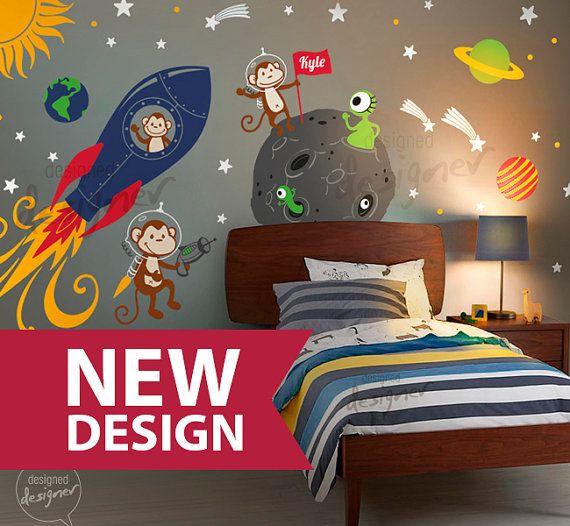 Spazio Wall Decal razzo alieni pianeta scimmia di DesignedDesigner, $185.00