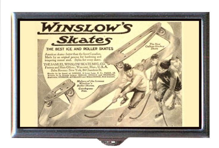 1911 Ice Skating Hockey Winslow's Antique B&W Ad Coin, Mint, Pill Box USA Made | eBay