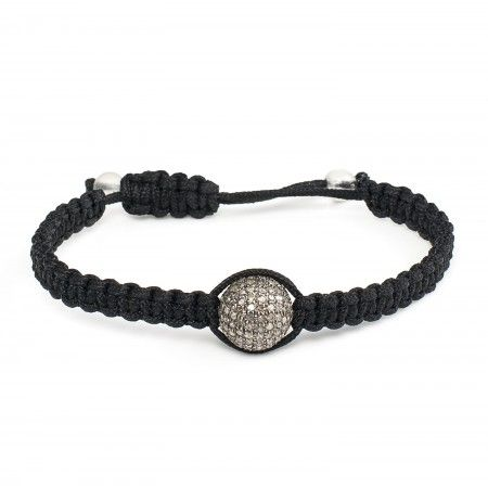 A bead dotted with diamonds shines bright amongst the others in this Shamballa inspired bracelet.