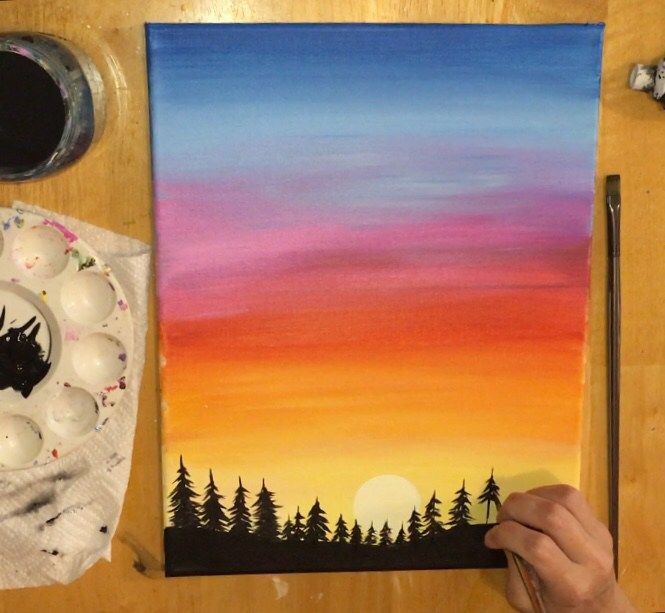 Sunset Painting Learn To Paint An Easy Sunset With Acrylics
